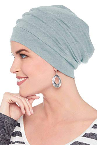 Headcovers Unlimited Slouchy Snood-Caps for Women with Chemo Cancer Hair Loss Light Chambrey - Hat Scarf Wrap