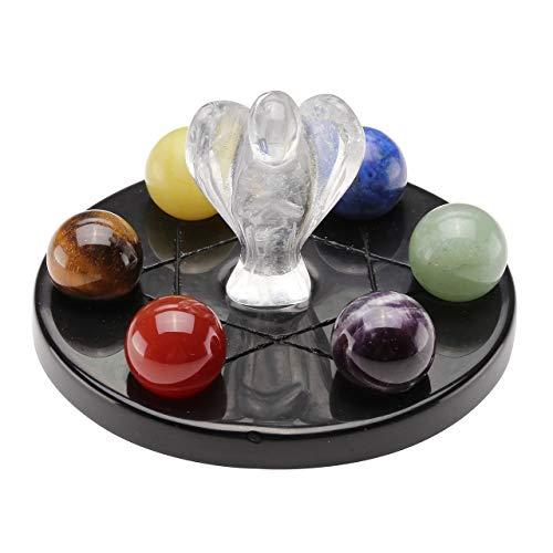 Jovivi 7 Chakra Star Group Reiki Lucky Crystal Ball Quartz Sphere & Clear Quartz Guardian Angel Figurines Healing Stone on Black Obsidian Stand Base Set Decoration w/Box
