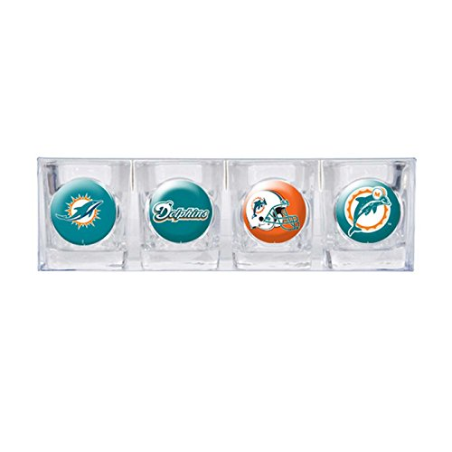 Miami Dolphins - 4 Piece Square Shot Glass Set w/Individual Logos