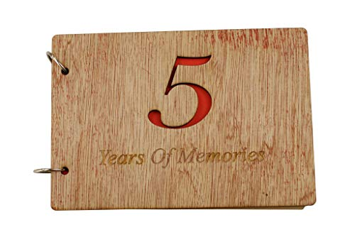 5th Anniversary Wood Scrapbook - 5 Years of Memories Add Photos Wooden Cover