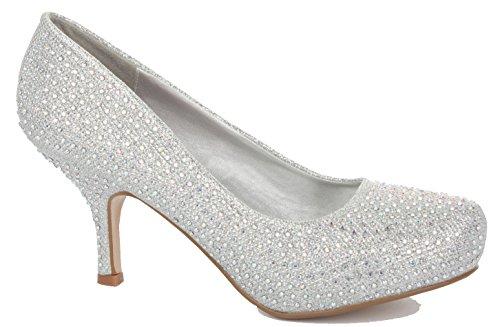 Ladies Womens Work Low Mid Kitten Heels Bridal Court Bridesmaid Shoes Pumps Size 3-8 New Style B - Silver Diamante 7XdZ9YuFxX
