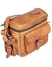 Tuzech Real Leather Vintage Plus Modern Leather Camera DSLR Messenger Bag for Mirrorless, Instant and DSLR Cameras Regular Use Bag - Brown Color (8 inches)