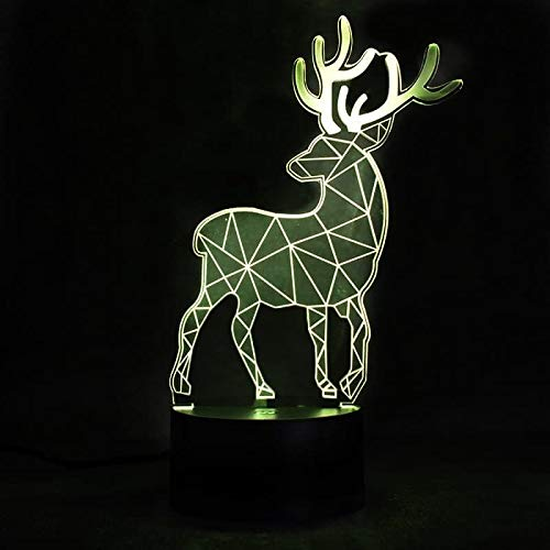 Deer 3D Night Light Lumiere LED Optical Illusion 3D Lamp with USB Cable, 7 Colors Change, Smart Touch Control and ABS Base, Cool Christmas and Birthday Gift for Boys and Girls (Led Deer)