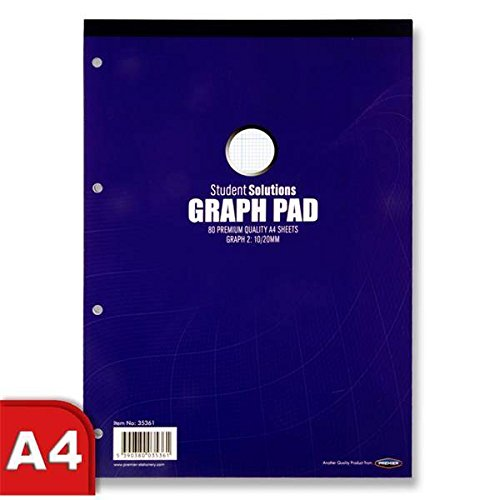 A4 School Graph Maths Square Pixel Grid Premium White Paper Pad 80 Sheets x 4 by Student Solutions