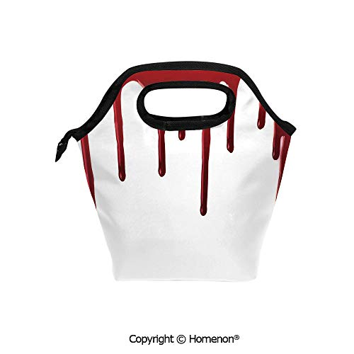 Insulated Neoprene Soft Lunch Bag Tote Handbag lunchbox,3d prited with Flowing Blood Horror Spooky Halloween Zombie Crime Scary Help me Themed,For School work Office Kids Lunch Box & Food Container -