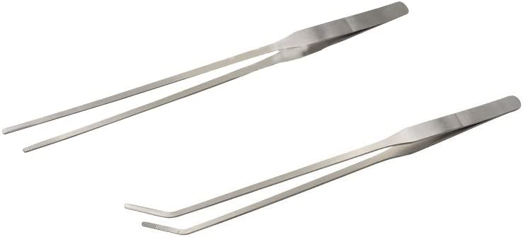 "Stainless Steel Mega Tweezer Extra Long Forceps 12/"" LONG CURVED TIP NEW"