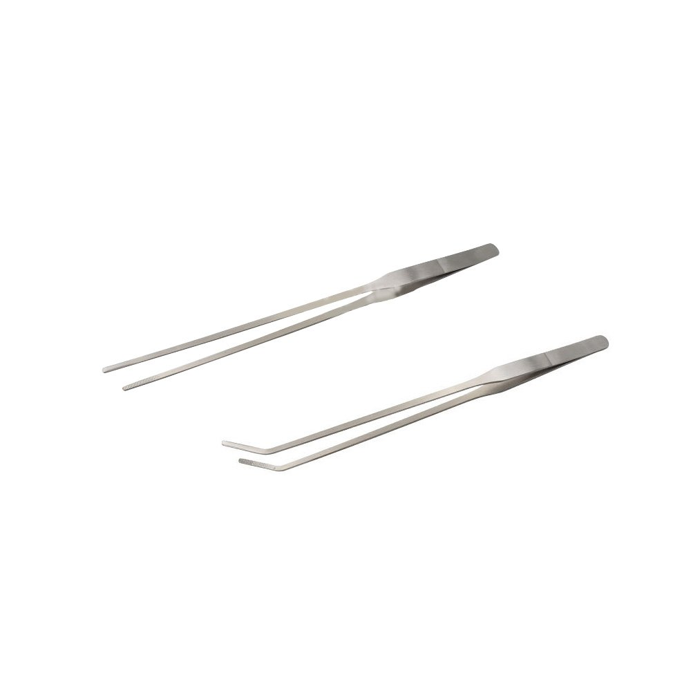 YEJI 2pcs Long handle Stainless Steel Straight and Curved Tweezers Nippers for garden kitchen indoors and outdoors