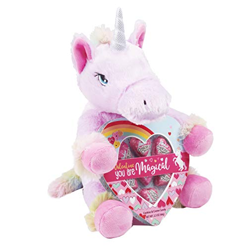 Way to Celebrate Valentines Unicorn Pink and Rainbow Plush with Candy (Pink Unicorn with Rainbow Hair)