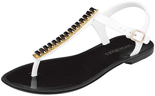 Peppers Gems (Mary Pepper Women's Gems Black Jelly T Strap Sandal 9-10 US)