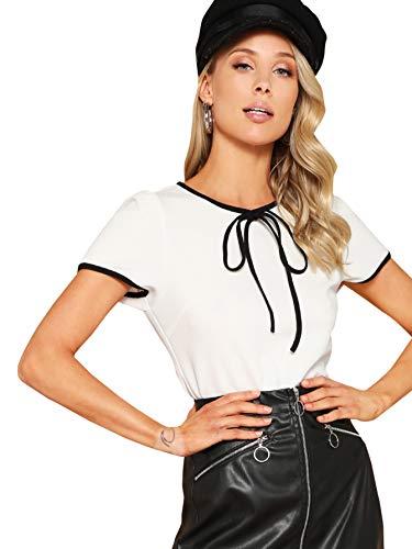 WDIRARA Women's Fashion Tie Neck Short Sleeve Round Neck Solid Blouse Top White M