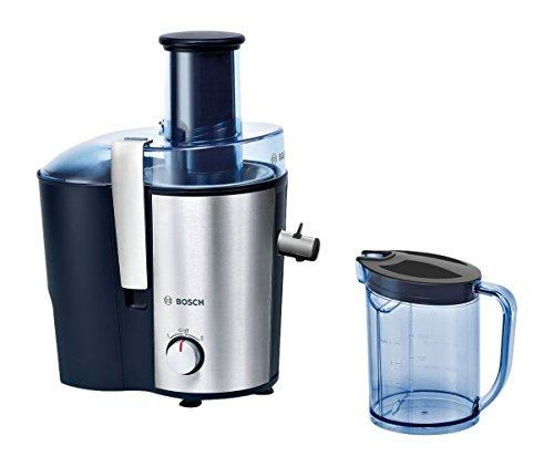 Bosch MES3500 Entsafter VitaJuice 3 700 W, XL-Einfüllschacht, Edelstahl-Microfilter-Sieb, Saftauslauf und Gehäuse aus Edelstahl, Ausgießer mit DripStop, blau / silber