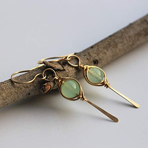 14K Gold filled Aventurine Quartz Drop Earrings with Herringbone Wrapping Dangle Earrings ()