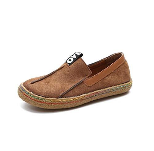 女性靴フラットボトムエンドウ靴ベルベット顔女の子小さな靴学生少女セット足大きな頭怠惰な靴ラージサイズ,Yellow,235JP