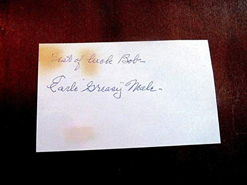 Earle Greasy Neale Eagles Football HOF Autographed Signed Vintage Index Card Memorabilia - JSA Authentic from Sports Collectibles Online