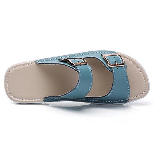 VWU - Sandalias de vestir de Piel para mujer Azul