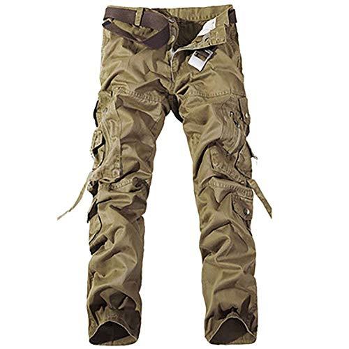 Jeans Multi Mens con Jeans Fit Khaki Bolsillo Pantalones Cómodos Algodón Suaves Multi Slim Rectos Moda De Carga De Ssig Bolsillo De Sueltos Pantalones rgrvqpw