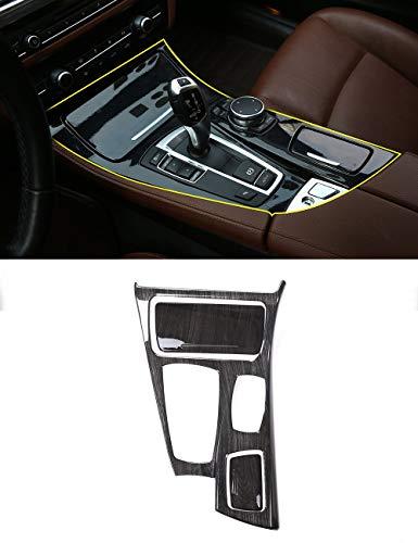 Black Wood Grain Center Console Gear Shift Panel Cover Trim 3pcs For BMW 5 Series F10 2014-2017 520li 525li ()