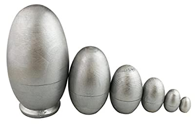 Winterworm Glossy DIY Silver Egg Shape Handmade Wooden Russian Nesting Dolls Matryoshka Dolls Set 6 Pieces For Kids Toy Christmas Holiday Gifts Home Decoration Easter Egg