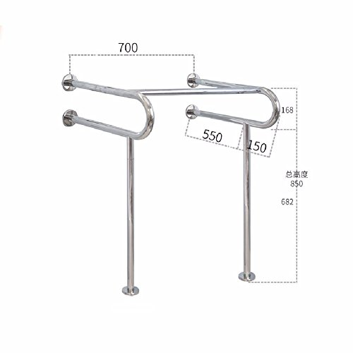 WAWZJ Handrail 304 Stainless Steel Handrails For The Disabled Toilet Safety Barrier Free Handrail,B,Mirror Light by WAWZJ-Handrail