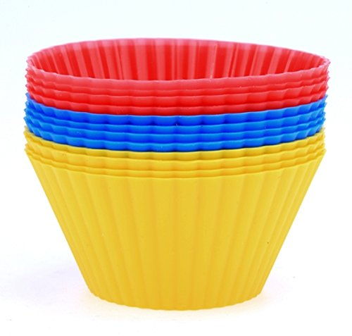 HOMEKE 12 PCS Round Silicone Baking Cups Dessert Baking Chocolate Cups Mold Cupcake Liner