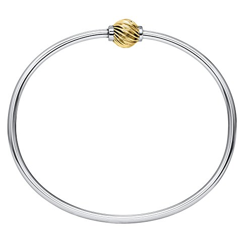 Lighthouse Creations The Traditional Sterling Silver & 14K Yellow Gold Single Swirl Ball Threaded Bracelet from Cape Cod, 6.5