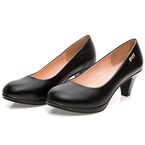 Deer Womens Genuine Leather Chunky Heel Pumps Dress Slip Ons Shoes Black K9rYacEfGg