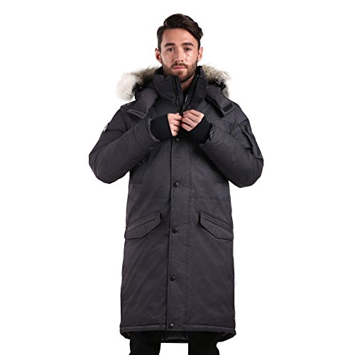 Triple F.A.T. Goose SAGA Collection | Eberly II Mens Hooded Goose Down Jacket Parka with Real Coyote Fur (2XL, Charcoal) by Triple F.A.T. Goose (Image #1)