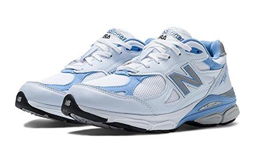 New Balance Women's W990 Running Shoe,White/Blue,7.5 B US