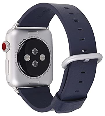 JSGJMY Apple Watch Band 38mm Women Navy Genuine Leather Loop Replacement Wrist Iwatch Strap with Silver Metal Clasp for Apple Watch Series 3 Series 2 Series 1 Sport Edition