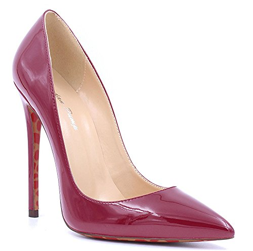 Heels Slip Work On Suede Or Womens Toe Leather Stiletto Patent High 12cm Ubeauty Wine Pointed Shoes Pumps Court v8pxEzqw
