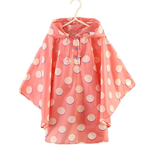 Absolutely Perfect Long Poncho Children Hooded Reusable Lightweight Cute Cloak Raincoat Pink White XL (Fit 55.1