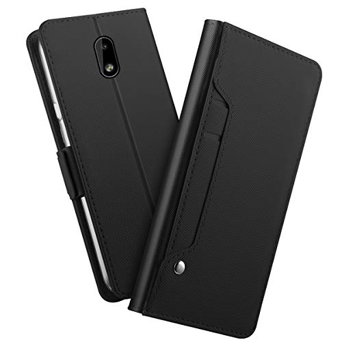 LEI JUN for Nokia 3.1 C Case,[Splice Series] Stand Feature,Premium Soft PU Color Matching Leather Wallet Cover Flip Cases for Nokia 3.1 C (Black)