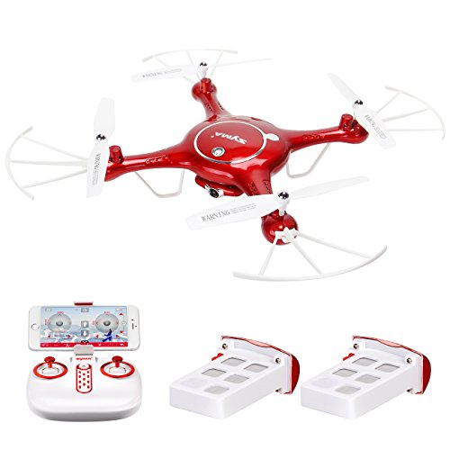Syma X5UW Camera Quadcopter Drone with Flight Plan Route App Control Red