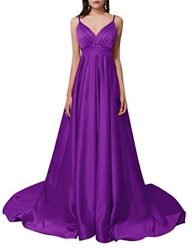 ALAGIRLS Women A Line Spaghetti Straps Long Evening Dress Backless Satin Formal Prom Gowns Purple US26Plus