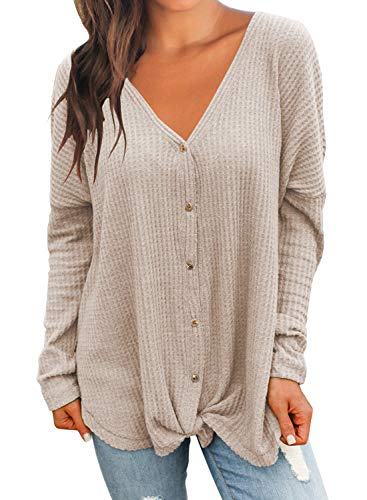 MIHOLL Womens Loose Blouse Long Sleeve V Neck Button Down T Shirts Tie Front Knot Casual Tops (X-Large, Z- Oatmeal)