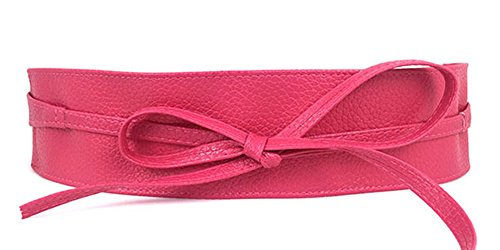 Women's PU Leather Waist Belt Bow Tie Wrap Around Soft Boho Corset Fashion Elegant for Dresses (Rose Red) - Womens Elegant Pu Leather