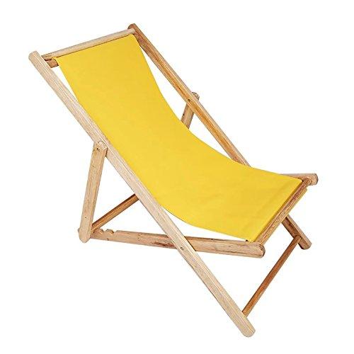 SYF Chair Garden Folding Chair Neck Pillow Folding Beach Chair Wooden Deck Chair Outdoor Canvas Folding Chair Recliner Office Load 140kg A+ (Color : Yellow)