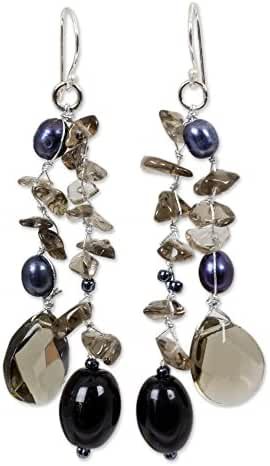 NOVICA Dyed Cultured Freshwater Pearl Dangle Earrings with Sterling Silver Hooks