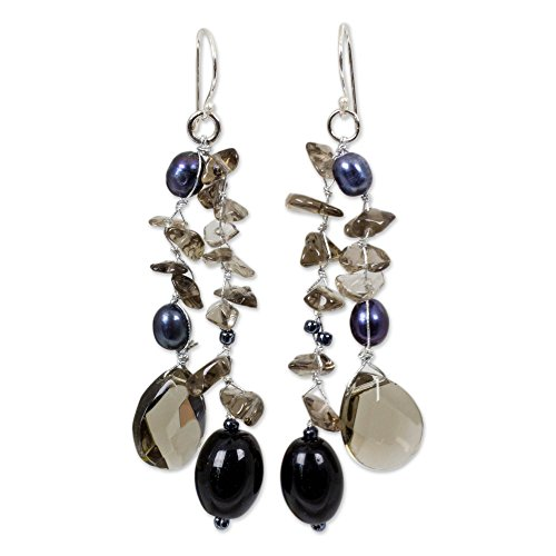 (NOVICA Dyed Cultured Freshwater Pearl Glass Bead Dangle Earrings with Sterling Silver Hooks )