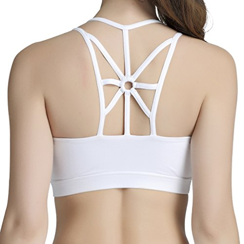 Snailify Women's Sports Bra High Impact Crisscross Racerback Wireless Halter - Strappy Padded Workout Yoga Gym Bras,White -