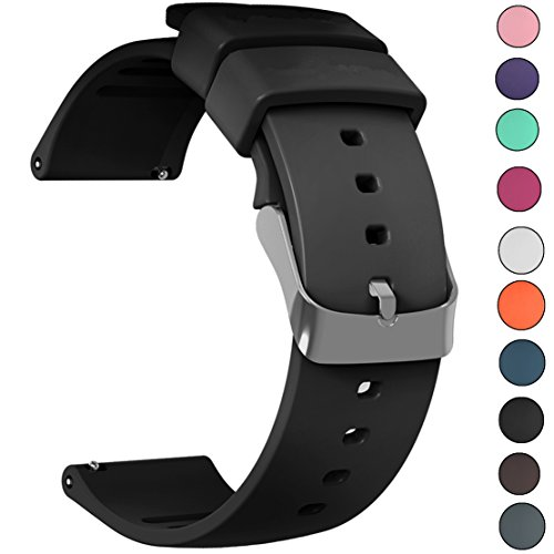 IELIELE Compatible 20mm Watch Band, Waterproof Replacement Wristbands Straps for Samsung Gear S2 Classic/Withings (Nokia) Steel HR 40mm/ Galaxy Watch 42mm(Black,20mm)