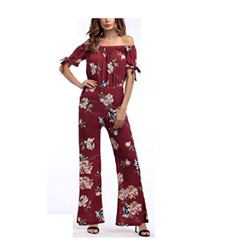 Elegante Red De Playsuit Jumper Fuweiencore Off Floral Summer Las Flower Mujeres Jumpsuit Manga Beach Corta Dress Romper 4gnPgqwTC