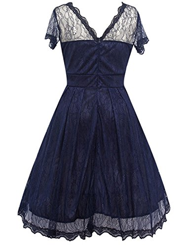 Blue Trench Pleated Mini Lace Women Girl Dark Allonly Hollow Dress Out Gowns Party 1pyRcH