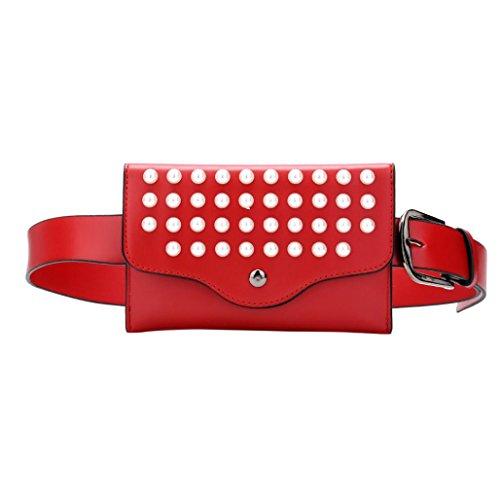 Pas Lady Cher Fashion Couleur Messenger Pure Bandoulieres Perle Poubelles Chest OHQ à Rouge Pearl BandoulièRe En Rose Mode Sac Noir Cuir Femmes Rouge Kaki 5RCw1qx