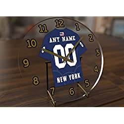 Football Team Desktop/Shelf Clocks - All N F L Colors Available - Size 7 X 7 X 2 Any Name Any Number Any Team !! (N Y G Edition)