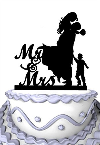 Meijiafei Bride and Groom with Little Boy Silhouette Script Mr and Mrs Wedding Cake Topper for $<!--$11.99-->