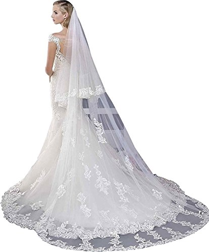 Women Tulle Veil Ivory 118 Inches 2T Bridal Veils with Bomb (White, 3Meter length)