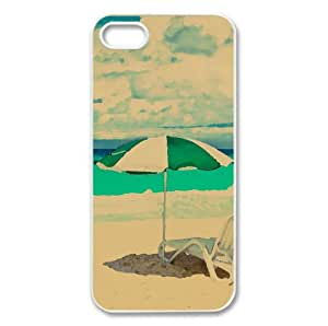 Sunny Day At The Beach Watercolor style Cover iPhone 5 and 5S Case (Summer Watercolor style Cover iPhone 5 and 5S Case)