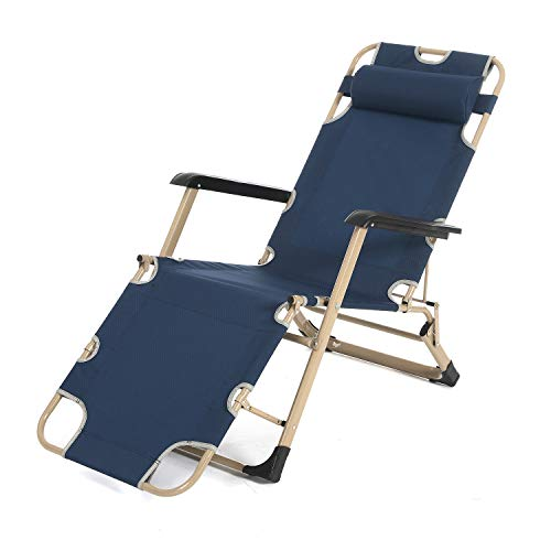 (soges Premium Patio Lounge Chair Portable Folding Chairs with Adjustable Pillow for Beach, Swimming Pool, Garden, Outdoors and Indoors, Stainless Steel, CT-F02)