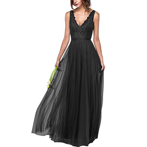 V für Damen Abendkleid Kleid Burgund Schulter Elegantes Rueckenfrei Lange Tüll Spitze 6ZqzURyp